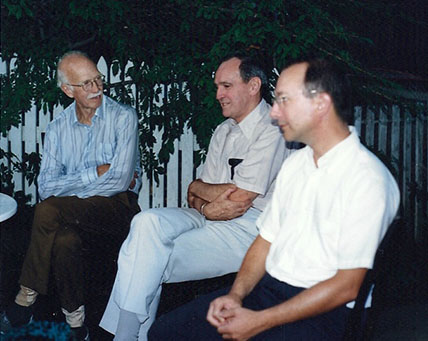 James Robert Hightower, Pat Hanan, and Ron Egan at the Egans' backyard in Arlington, MA, 1987