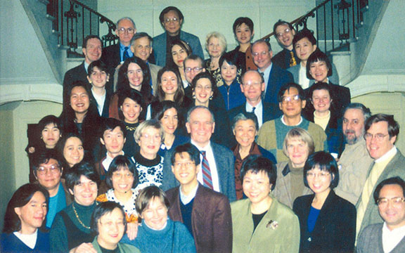 Pat Hanan and colleagues at his retirement party, December 1997