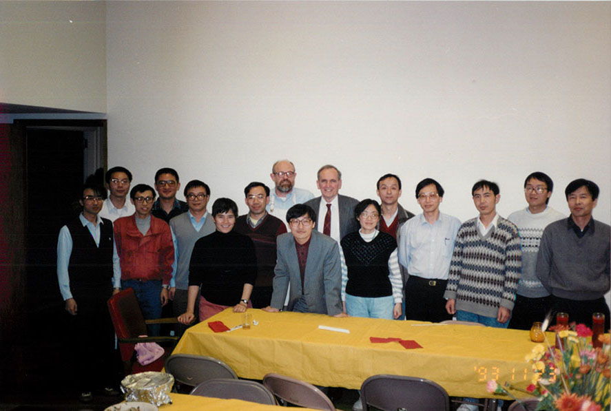 Pat Hanan and visiting scholars at the HYI Thanksgiving Party, 1993