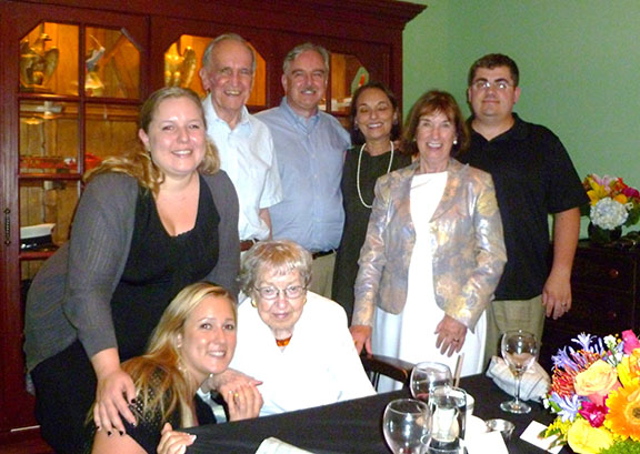 The Hanans at their 60th wedding anniversary celebration with family